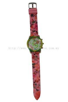 Ladies Colourful Flower Design Watch (Pink)