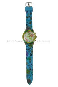 Ladies Colourful Flower Design Watch (Shocking Blue)