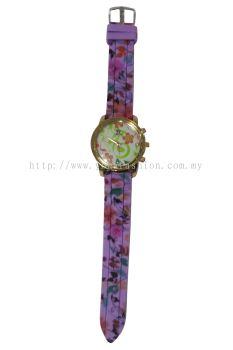 Ladies Colourful Flower Design Watch (Purple)