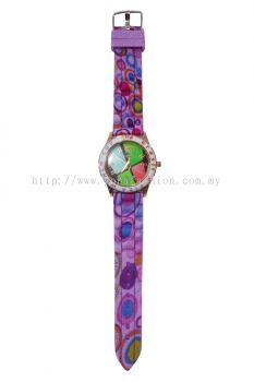 Ladies Colourful Printed Design Watch (Purple)
