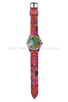 Ladies Colourful Printed Design Watch (Shocking Pink)