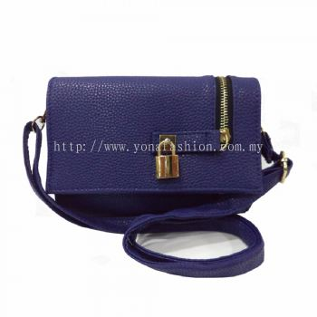 Ladies Designer PU Leather Padlock Sling Bag (Blue)