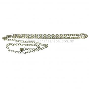 Ladies Style Crystal Chain Belt (Silver/Clear White)