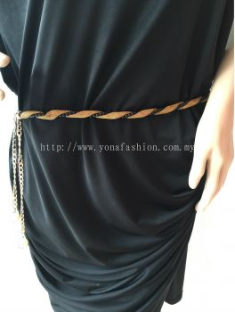Yona Fashion Ladies Style Pearl Chain Belt (Gold / White)