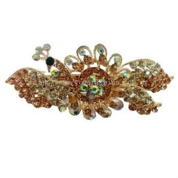 Luxurious Peacock Stone Hair Clip (Brown)