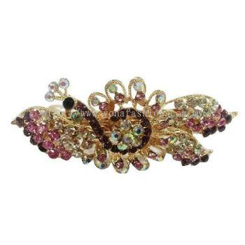 Luxurious Peacock Stone Hair Clip (Purple)
