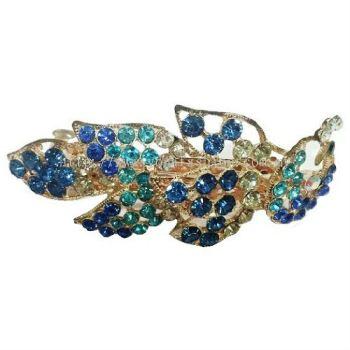 Grand Leaf Design Stone Hair Clip (Blue)