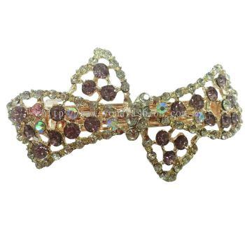Yona Fashion Luxurious Ribbon Design Stone Hair Clip (Plum / Silver)
