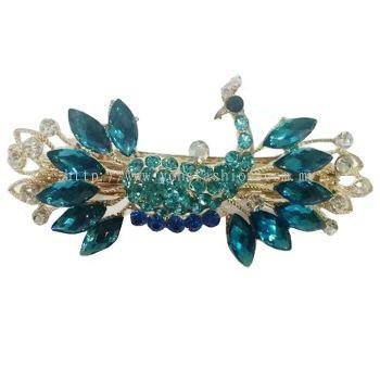 Grand Peacock Stone Crystal Hair Clip (Blue)