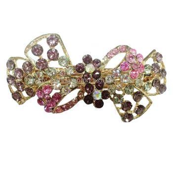 Ribbon Flower Design Stone Hair Clip (Purple)