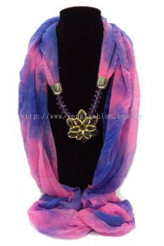 Elegant Women Crystal Flower Scarf Scarves Shawls (Pink / Purple)