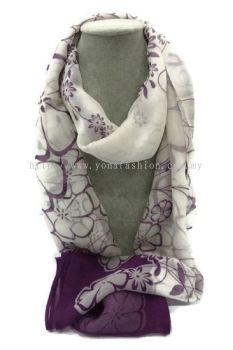Elegant Women Edition Scarf Scarves Shawls (White / Purple)