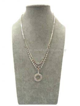 Fancy Circle Rhinestone Chain (Silver)