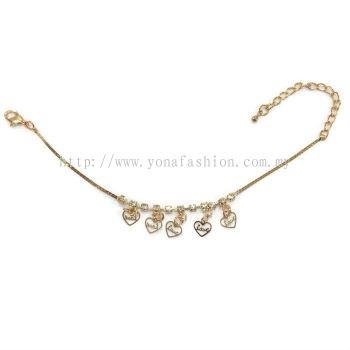 Heart Shape Design Rhinestone Anklet (Gold Plated)