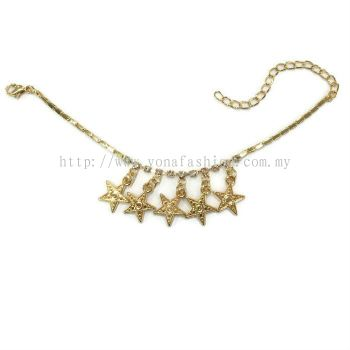 Star Design Rhinestone Anklet (Gold Plated)