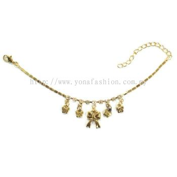 Ribbon Design Rhinestone Anklet (Gold Plated)