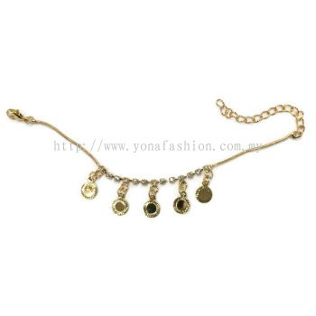 Coin Design Rhinestone Bracelet (Gold Plated)