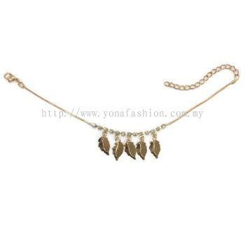 Leaf Design Rhinestone Anklet (Gold Plated)