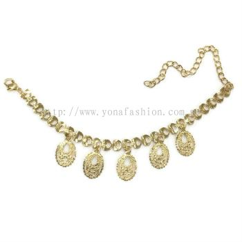 Oval Design Rhinestone Anklet (Gold Plated)