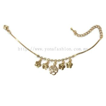 Flower Design Rhinestone Anklet (Gold Plated)