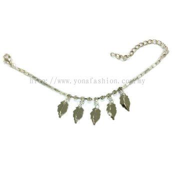Leaf Design Rhinestone Anklet (Silver Plated)