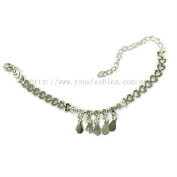 Oval Design Rhinestone Anklet (Silver Plated)