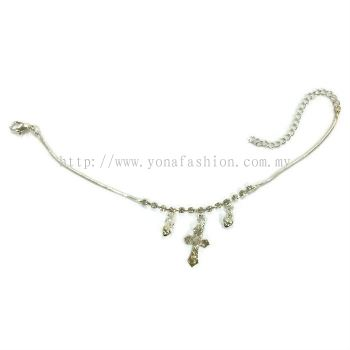 T Design Rhinestone Anklet (Silver Plated)