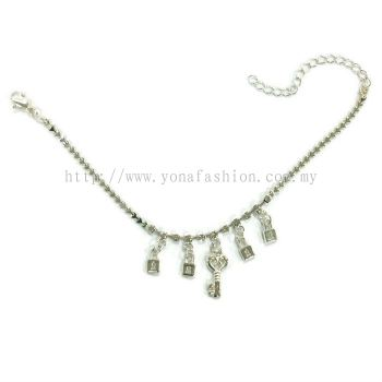 Keys Design Rhinestone Anklet (Silver Plated)