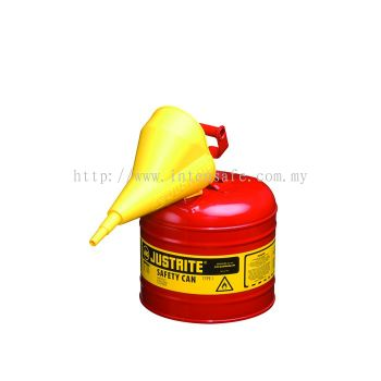 TYPE I STEEL SAFETY CAN FOR FLAMMABLES, WITH FUNNEL, 2 GALLON (7.5L), S/S FLAME ARRESTER, SELF-CLOSE LID