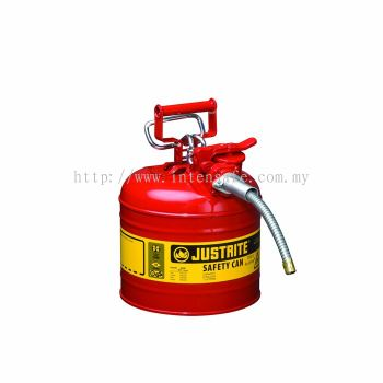 """Type II AccuFlow™ Steel Safety Can for flammables, 2 gal., S/S flame arrester, 5/8"""" metal hose"""