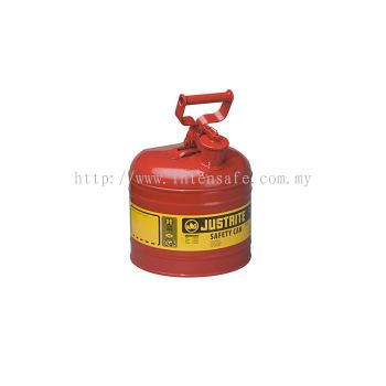 TYPE I STEEL SAFETY CAN FOR FLAMMABLES, 2 GALLON (7.5L), S/S FLAME ARRESTER, SELF-CLOSE LID