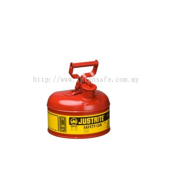 Type I Steel Safety Can for flammables, 1 gallon (4L), S/S flame arrester, self-close lid