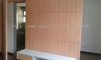 T.V Cabinet cum Hidden Door Feature Wall Design