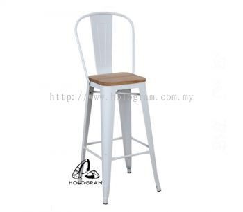 METAL BAR STOOL WITH WOODEN SEAT WM_0314