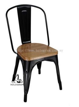 METAL CHAIR WITH WOODEN SEAT WM_0320