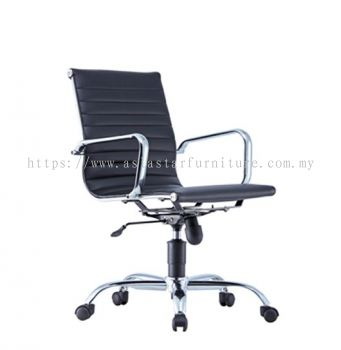LEO-RIB LOW BACK CHAIR WITH CHROME BODY FRAME