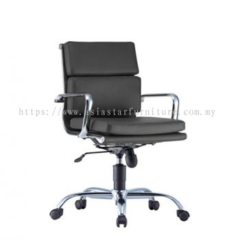 LEO-PAD LOW BACK CHAIR WITH CHROME BODY FRAME