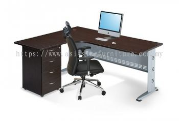 L-SHAPE TABLE METAL J-LEG C/W STEEL MODESTY PANEL & FIXED DRAWER 4D QL 1815-4D