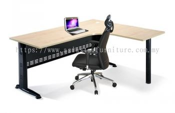 L-SHAPE TABLE METAL J-LEG C/W STEEL MODESTY PANEL & METAL POLE LEG QL 1815-M (INNER)