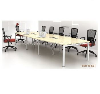 SBB 48-SET BOAT-SHAPE CONFERENCE TABLE (YBV 20 2 UNITS) WITH WIRE SNAKE