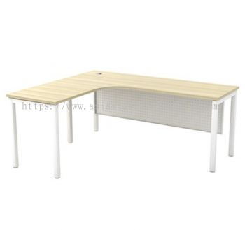 L-SHAPE TABLE METAL OCTAGON LEG C/W STEEL MODESTY PANEL SML 552