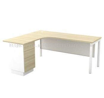 L-SHAPE TABLE METAL OCTAGON LEG C/W METAL MODESTY PANEL & FIXED PEDESTAL 3D SML 552-3D