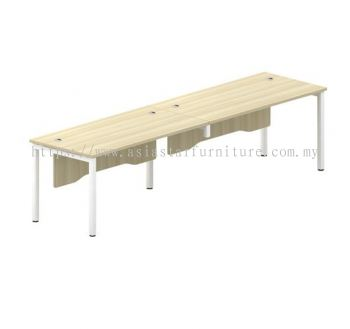 RECTANGULAR WRITING TABLE METAL OCTAGON LEG C/W WOODEN MODESTY PANEL FOR 2 PERSON SWT 127-2