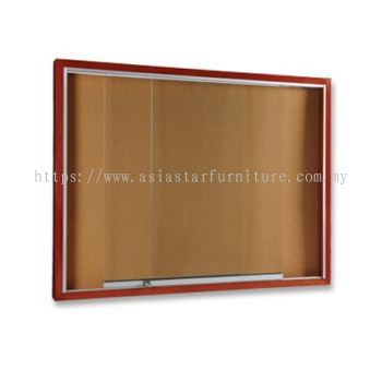 SLIDING GLASS NOTICE BOARD WOODEN FRAME BROWN COLOUR
