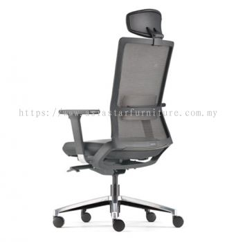 ROYSES HIGH BACK MESH CHAIR C/W ADJUSTABLE ARMREST (LEATHER) ARC 8510L