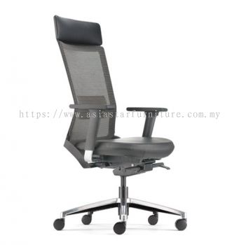 ROYSES HIGH BACK MESH CHAIR C/W ADJUSTABLE ARMREST (LEATHER) ARC 8520L
