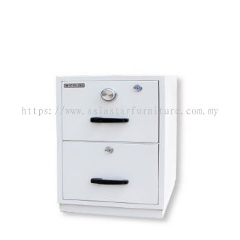 FIRE RESISTANT CABINET 2 DRAWER WHITE COLOUR SIDE VIEW