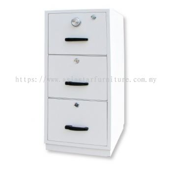 FIRE RESISTANT CABINET 3 DRAWER WHITE COLOUR SIDE VIEW
