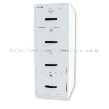 FIRE RESISTANT CABINET 4 DRAWER WHITE COLOUR SIDE VIEW