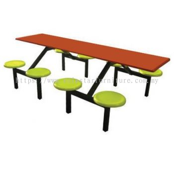 8 SEATER RECTANGULAR FIBREGLASS TABLE WITH STOOL